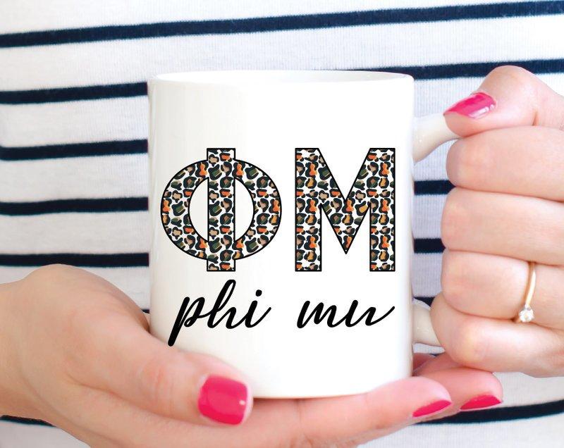 Phi Mu Leopard Mug