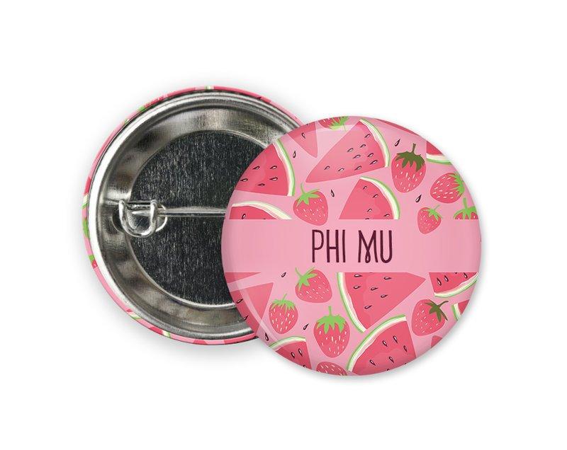 Phi Mu Watermelon Strawberry Button