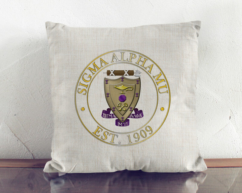 Sigma Alpha Mu Crest Linen Pillow