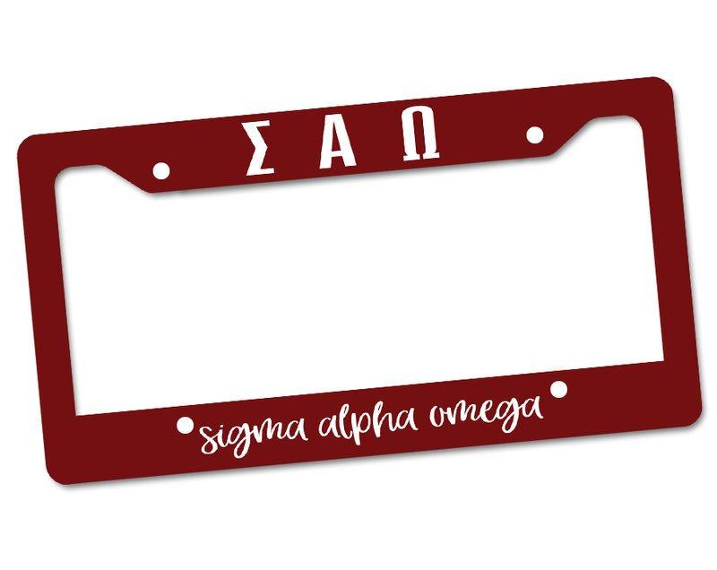 Sigma Alpha Omega License Plate Frame