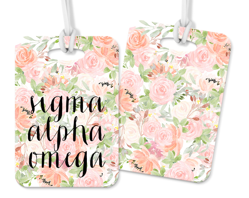 Sigma Alpha Omega Personalized Pink Floral Luggage Tag