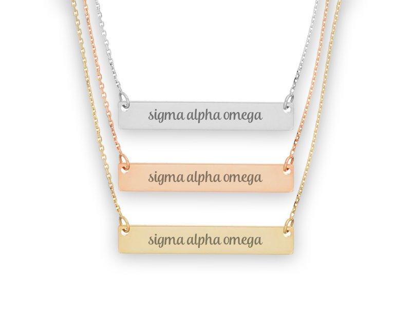 Sigma Alpha Omega Script Bar Necklace