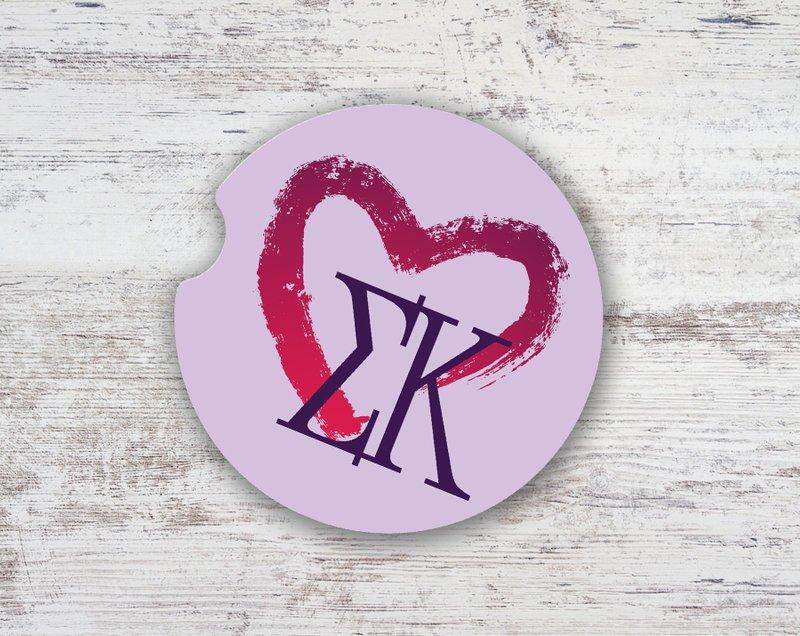 Sigma Kappa Brushed Heart Sandstone Car Cup Holder Coaster
