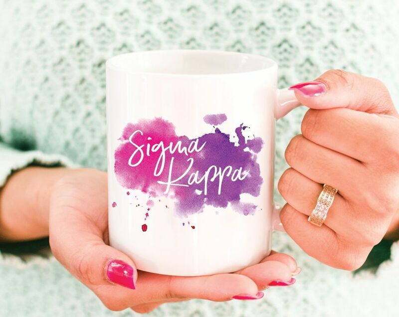 Sigma Kappa Watercolor Script Coffee Mug