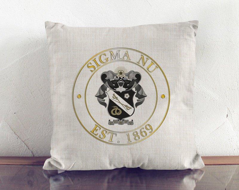 Sigma Nu Crest Linen Pillow