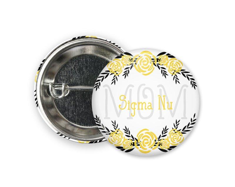 Sigma Nu Mom Floral Button