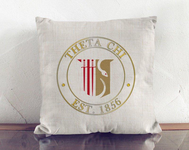 Theta Chi Crest Linen Pillow