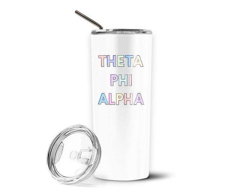 Theta Phi Alpha Pastel Letters Outline Stainless Tumbler