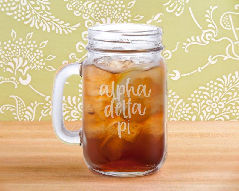 Alpha Delta Pi Script Mason Jar Mug