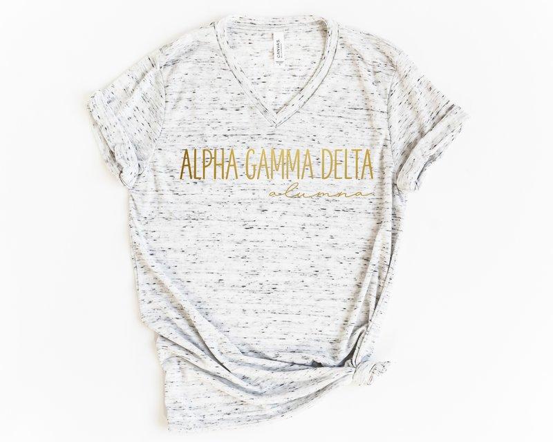 Alpha Gamma Delta Alumna Vneck Tee