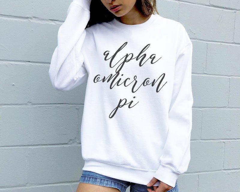 Alpha Omicron Pi Script Sweatshirt
