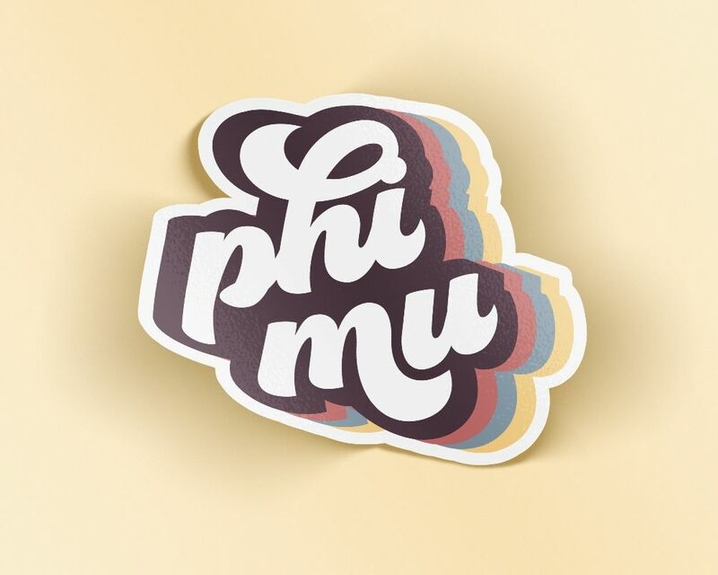 Phi Mu Retro Sticker