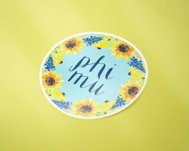 Phi Mu Sunflower Sticker