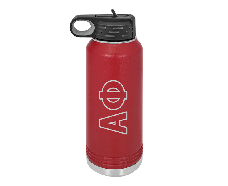 Alpha Phi Letters Stainless Water Bottle