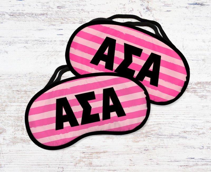 Alpha Sigma Alpha Pink Stripes Eye Mask