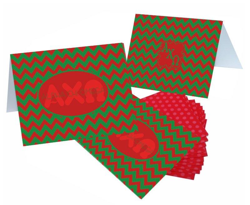 Alpha Chi Omega Chevron Note Cards w/ Envelopes (10)
