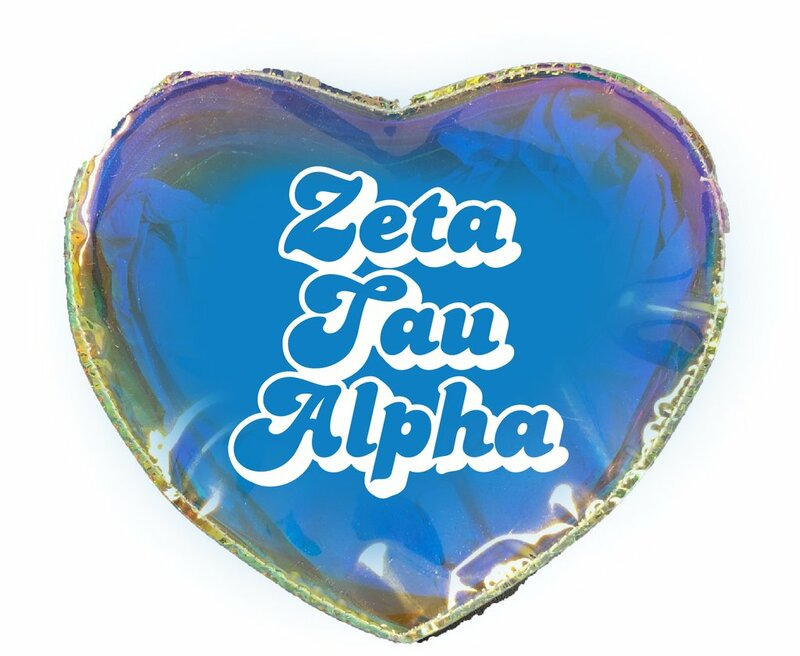 Zeta Tau Alpha Heart Shaped Makeup Bag