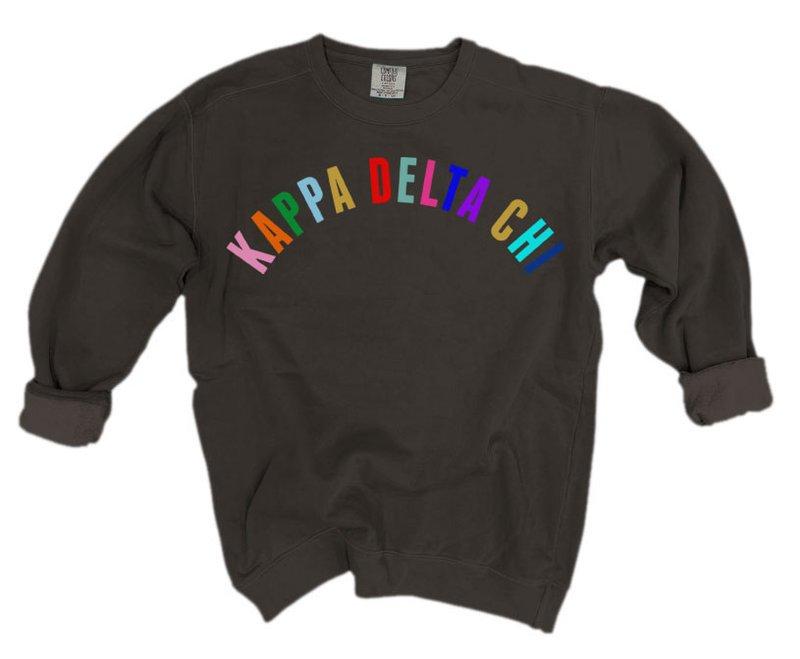 Kappa Delta Chi Comfort Colors Rainbow Arch Crew