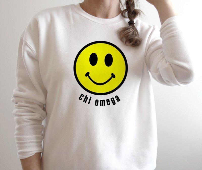 Chi Omega Smiley Face Crewneck Sweatshirt