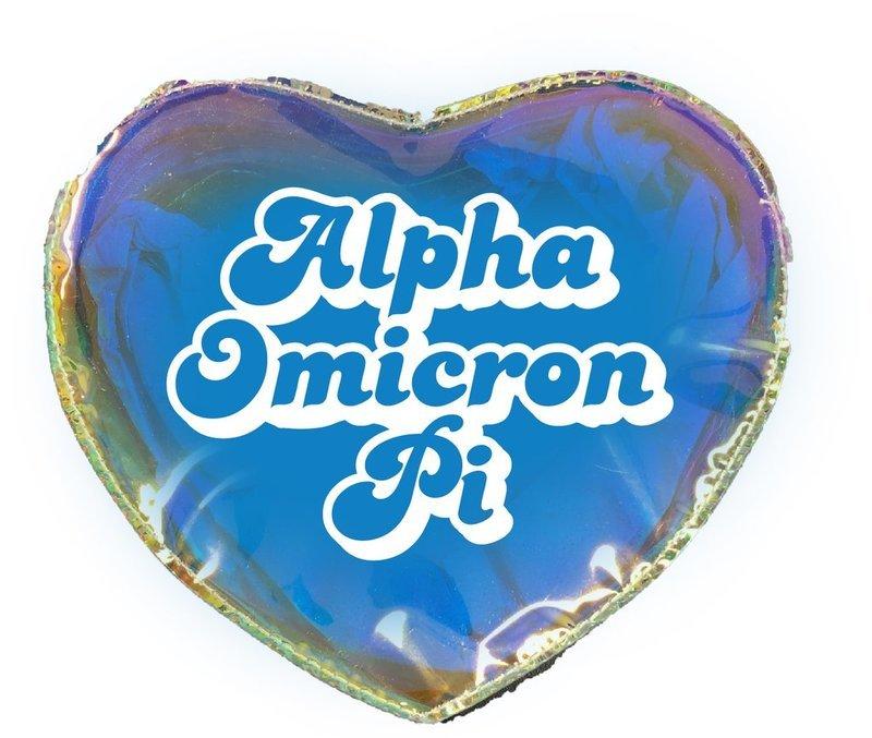 Alpha Omicron Pi Heart Shaped Makeup Bag