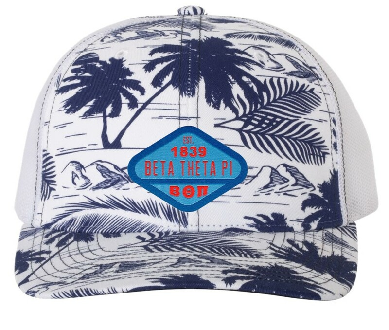 Beta Theta Pi Island Print Snapback Trucker Cap - CLOSEOUT