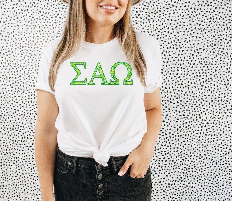 Sigma Alpha Omega Green Fizz Lettered Short Sleeve T-Shirt
