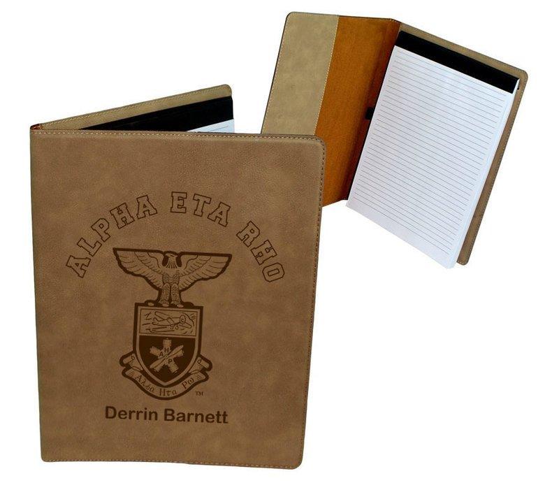 Alpha Eta Rho Leatherette Portfolio with Notepad