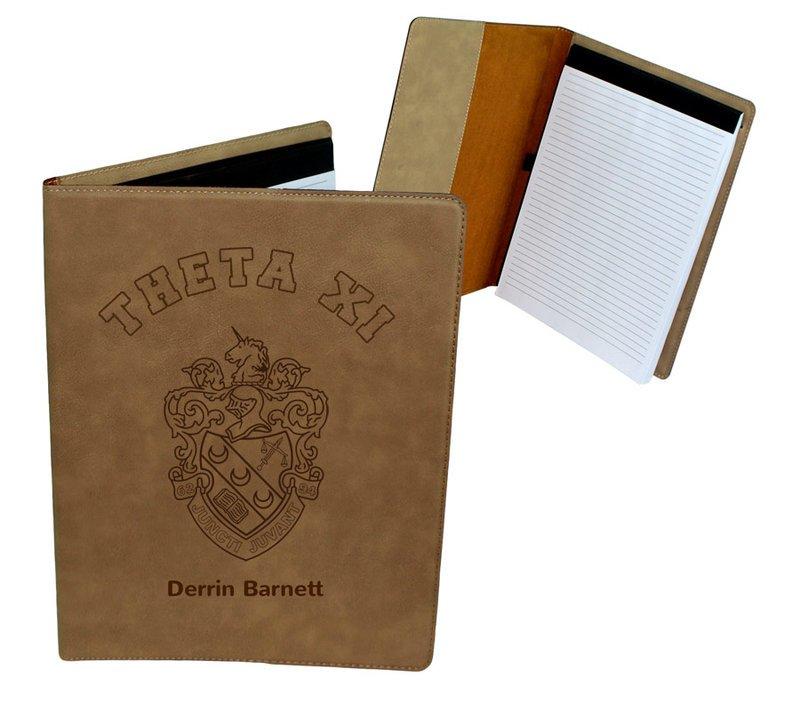 Theta Xi Leatherette Portfolio with Notepad