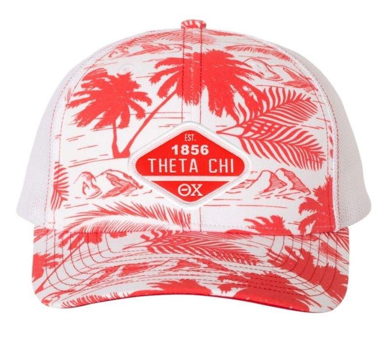 DISCOUNT-Theta Chi Island Print Snapback Trucker Cap
