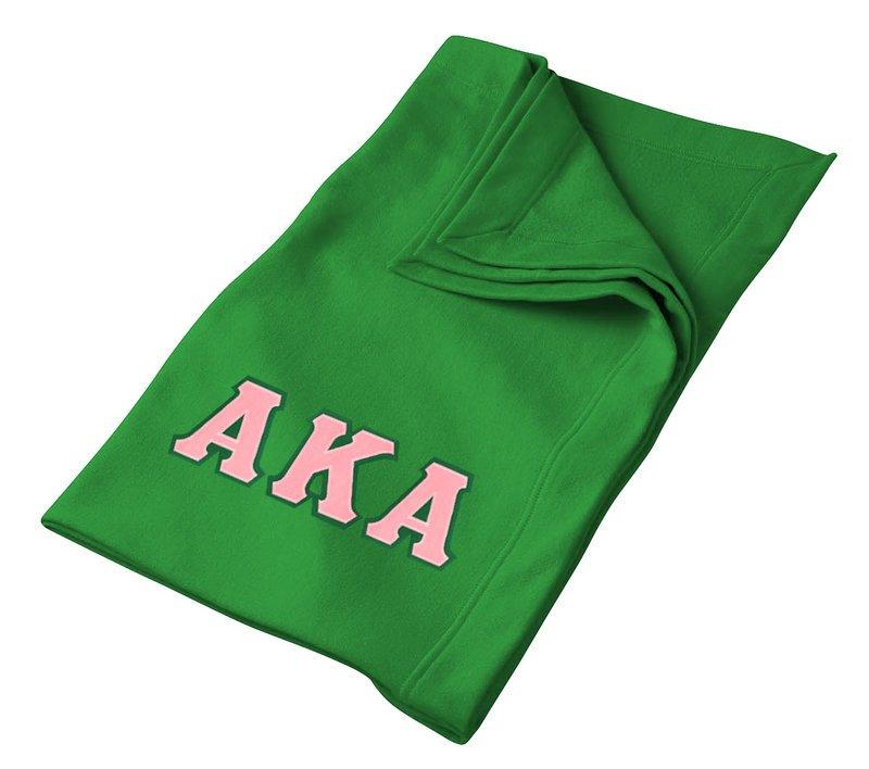 DISCOUNT-Alpha Kappa Alpha Lettered Twill Sweatshirt Blanket