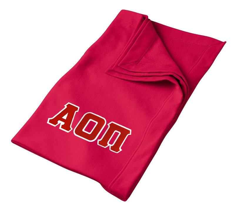 DISCOUNT-Alpha Omicron Pi Lettered Twill Sweatshirt Blanket