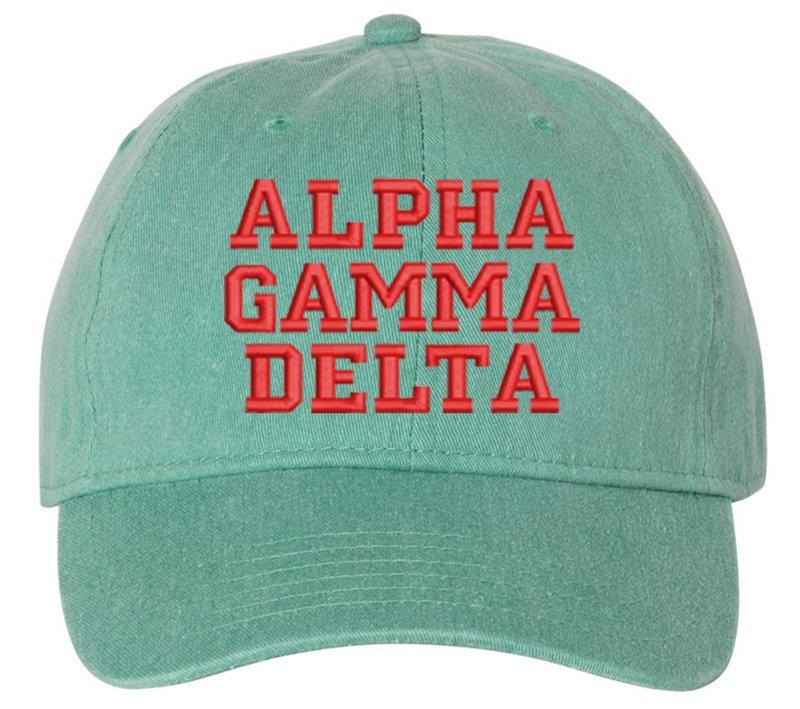 Alpha Gamma Delta Comfort Colors Pigment Dyed Baseball Cap