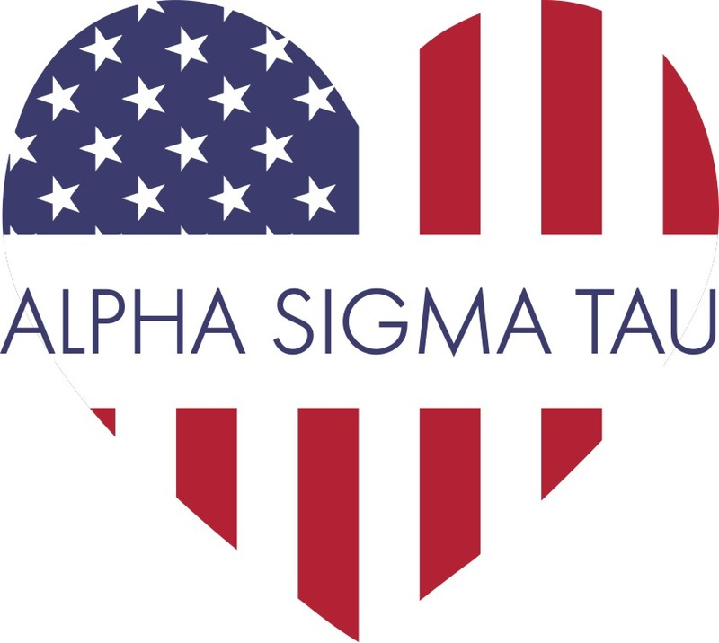 Alpha Sigma Tau American Flag Greek Heart Shaped Decal