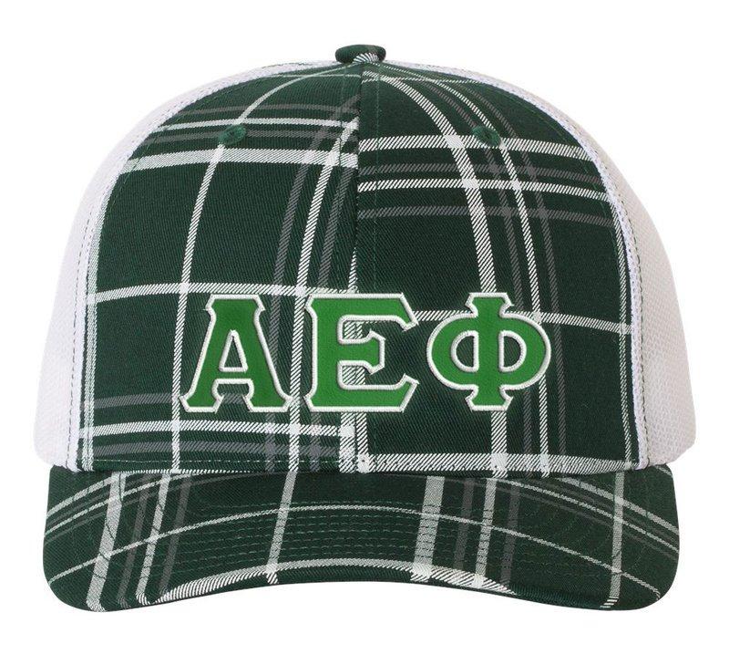 Alpha Epsilon Phi Plaid Snapback Trucker Hat - CLOSEOUT