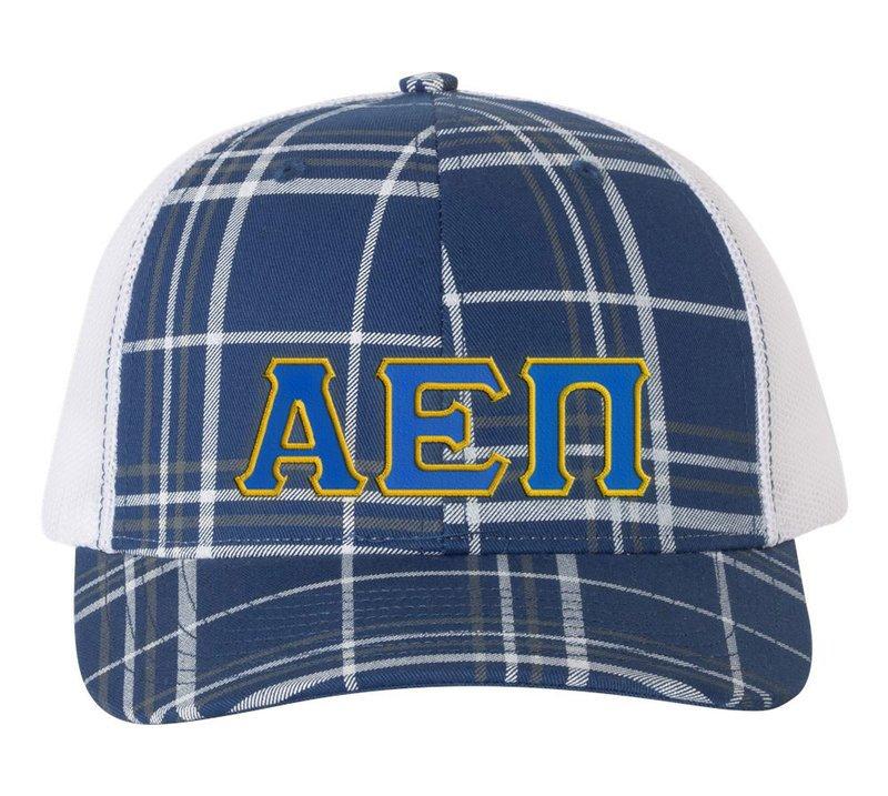 Alpha Epsilon Pi Plaid Snapback Trucker Hat