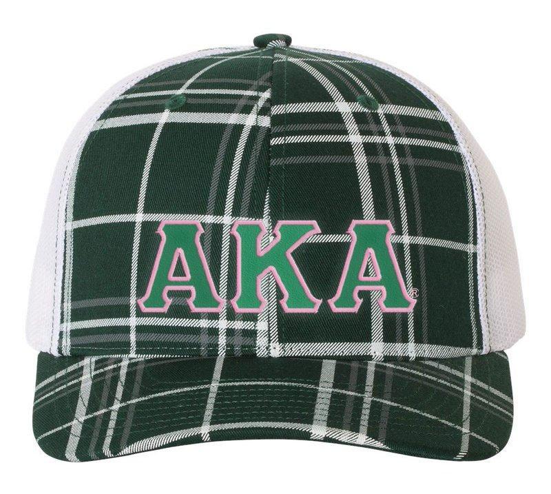 Alpha Kappa Alpha Plaid Snapback Trucker Hat - CLOSEOUT