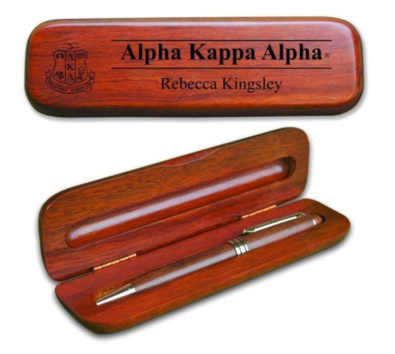 Alpha Kappa Alpha Wooden Pen Set