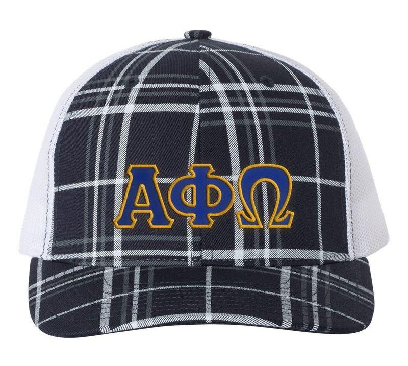 Alpha Phi Omega Plaid Snapback Trucker Hat
