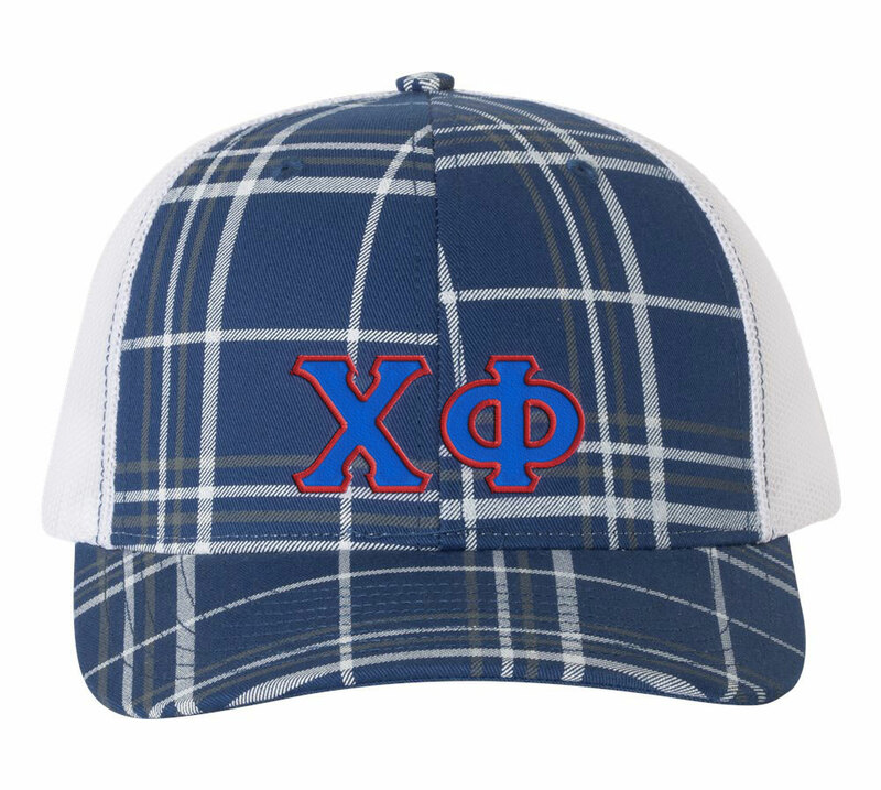 Chi Phi Plaid Snapback Trucker Hat