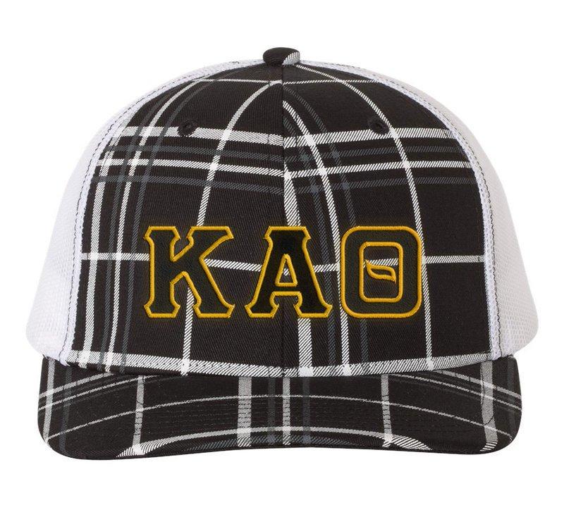 dbef24e1 Kappa Alpha Theta Plaid Snapback Trucker Hat SALE $24.99. - Greek Gear®