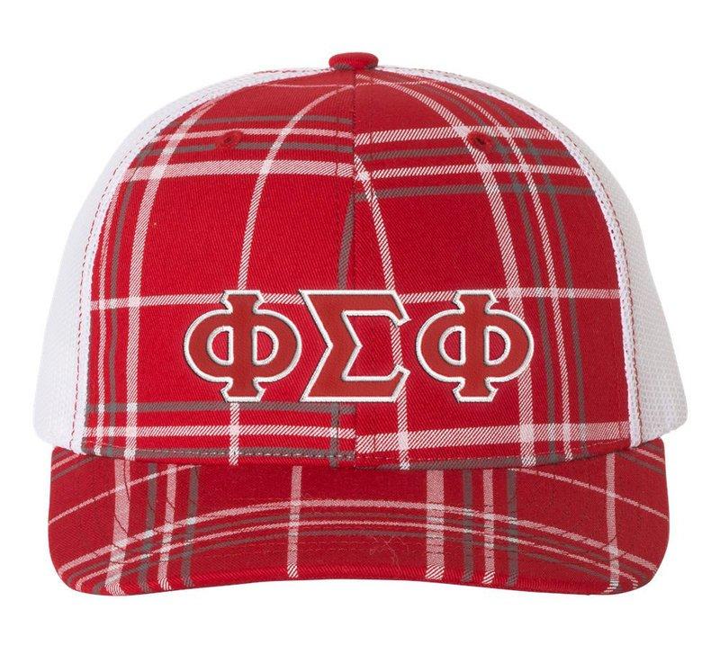 Phi Sigma Phi Plaid Snapback Trucker Hat - CLOSEOUT