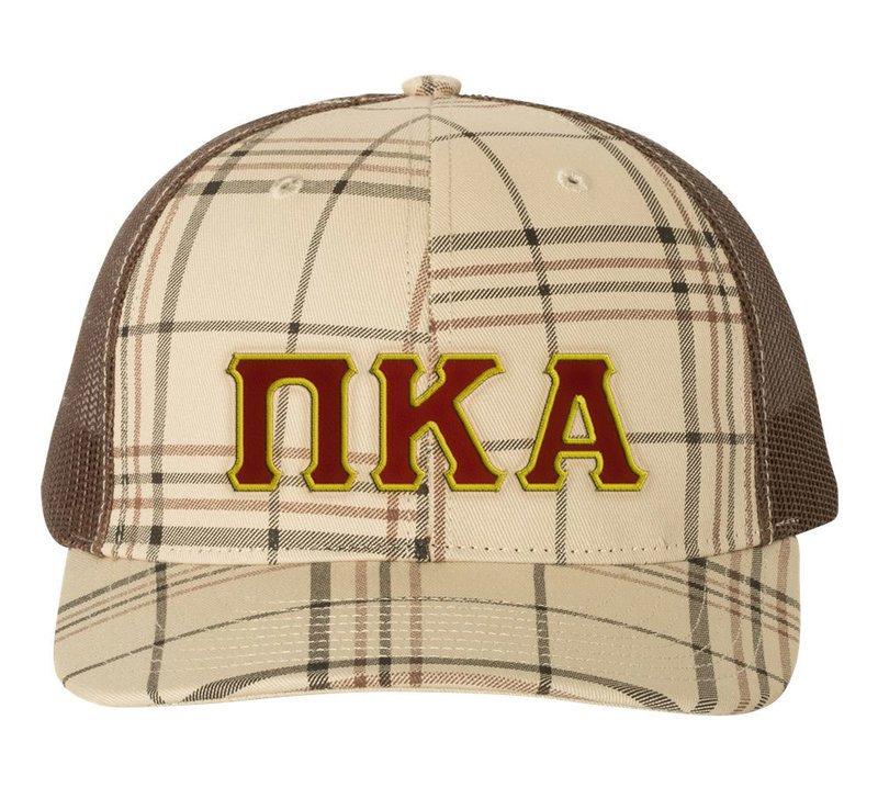 472ce036 Pi Kappa Alpha Plaid Snapback Trucker Hat SALE $24.99. - Greek Gear®