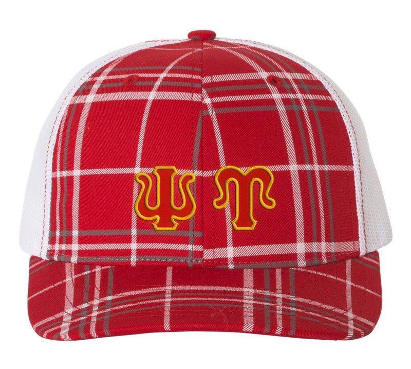 Psi Upsilon Plaid Snapback Trucker Hat