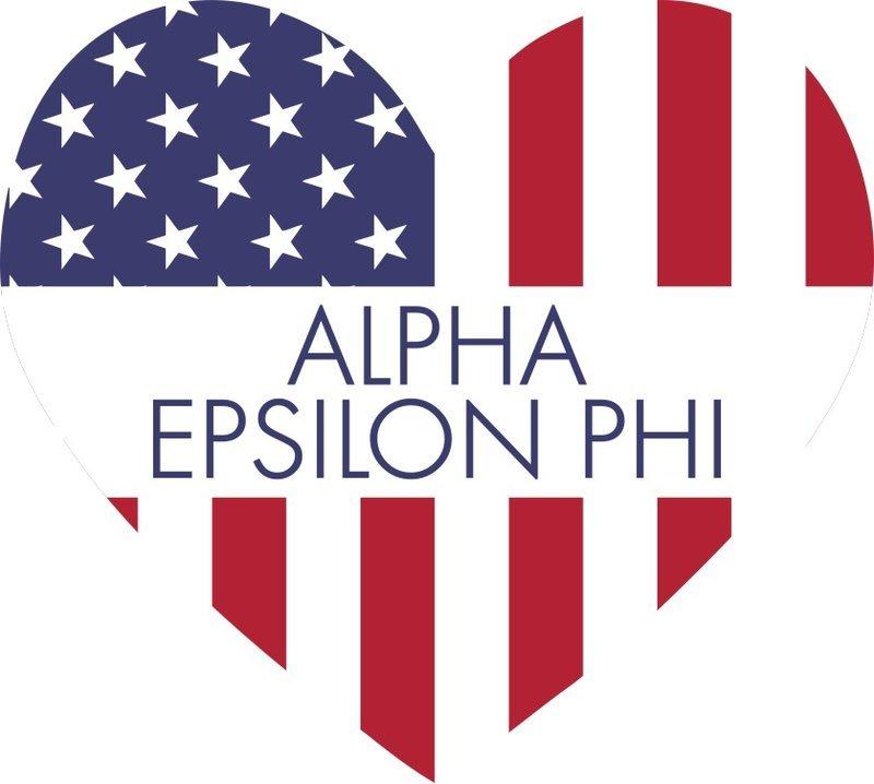 Alpha Epsilon Phi American Flag Greek Heart Shaped Decal