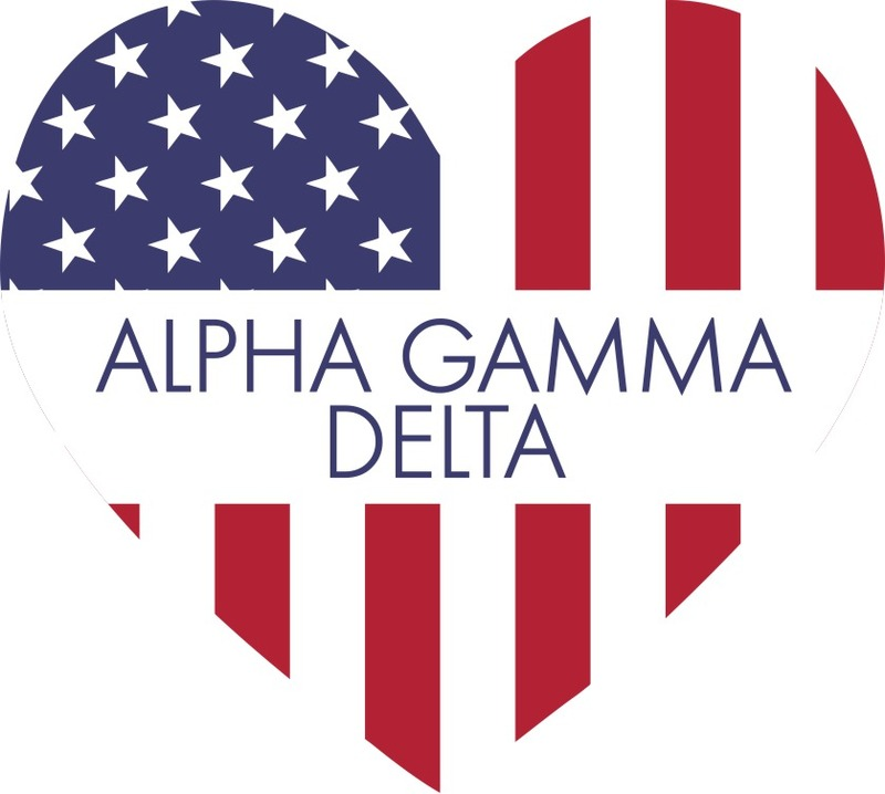 Alpha Gamma Delta American Flag Greek Heart Shaped Decal