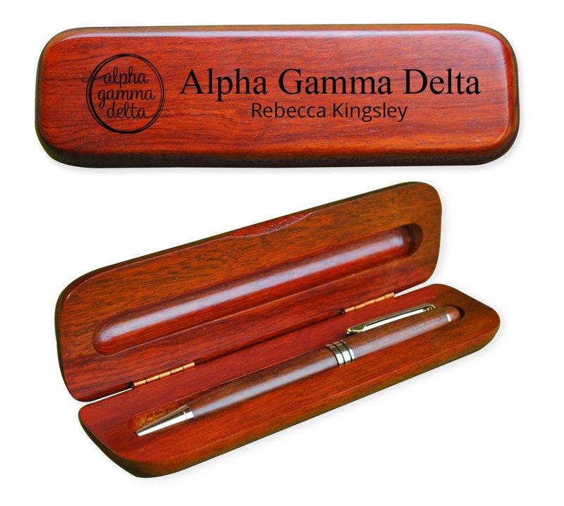 Alpha Gamma Delta Mascot Wooden Pen Set