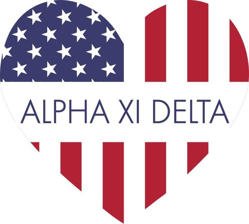 Alpha Xi Delta American Flag Greek Heart Shaped Decal