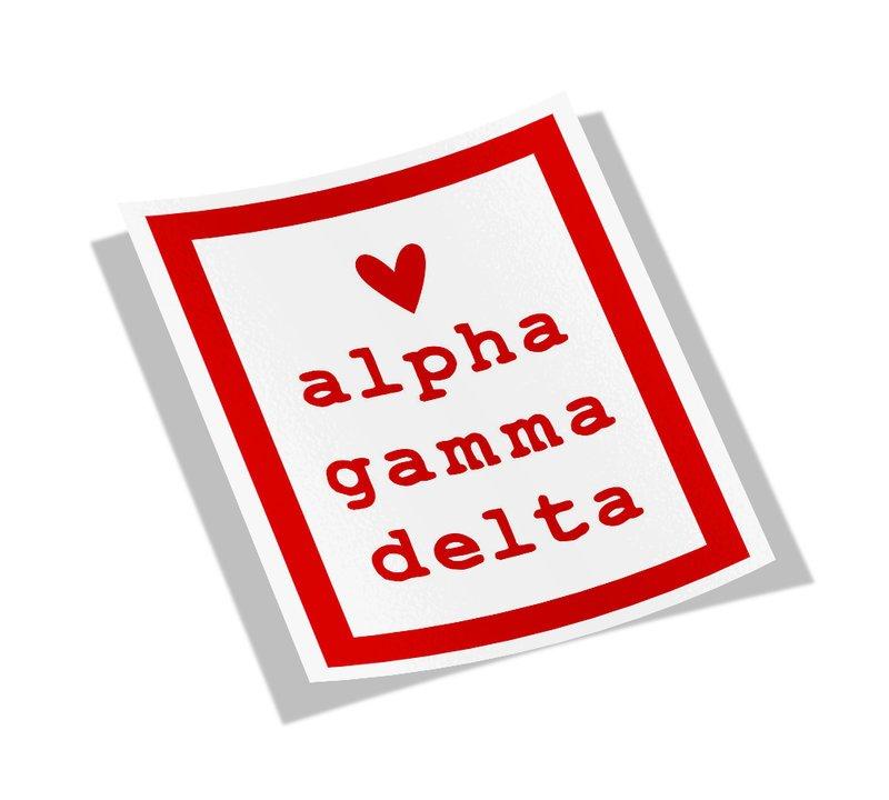 Alpha Gamma Delta Simple Heart Sticker