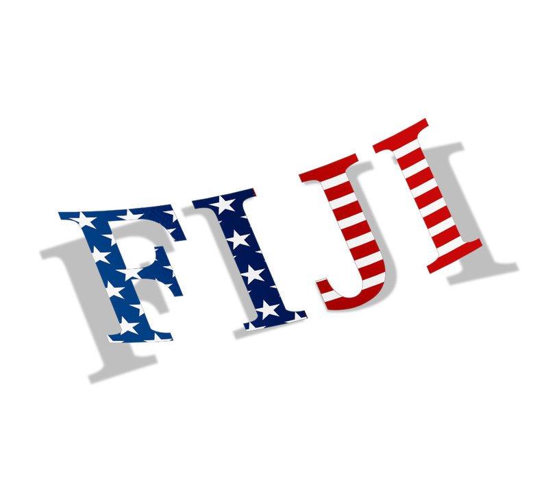 "FIJI Fraternity American Flag Greek Letter Sticker - 2.5"" Tall"