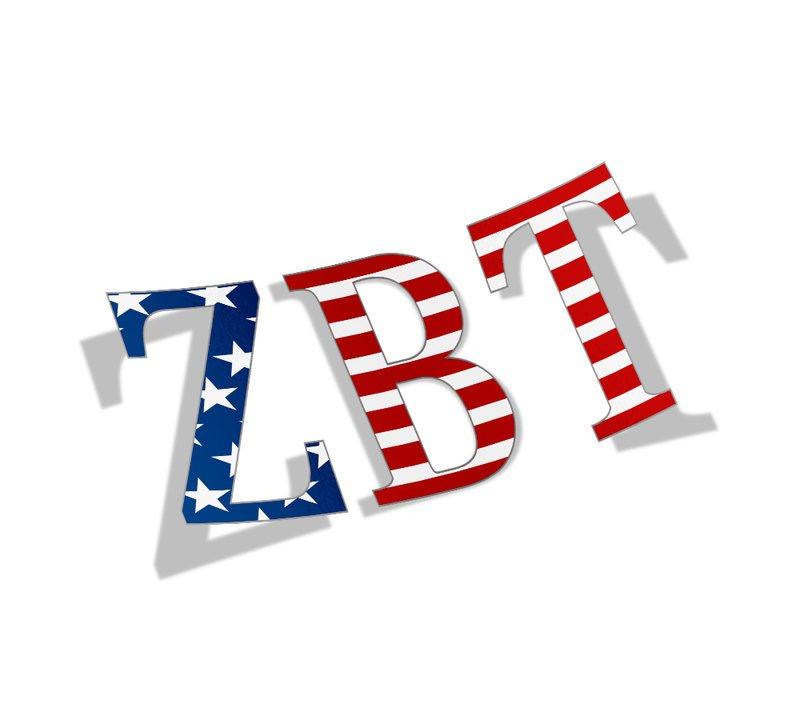 "Zeta Beta Tau American Flag Greek Letter Sticker - 2.5"" Tall"
